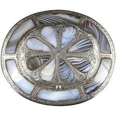 Antique Victorian Scottish Agate Locket Brooch, circa 1860
