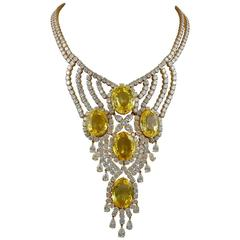 Yellow Sapphire Diamond Gold Necklace