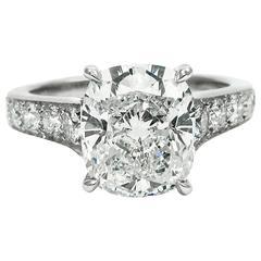 3.83 Carat GIA Total Cushion Cut Diamond Platinum Ring