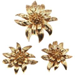 Floral Yellow Gold Brooch Ear Clips Set