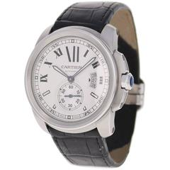Cartier Stainless Steel Calibre de Cartier Silvered Dial Automatic Wristwatch
