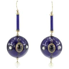 Victorian Purple Enamel Garnet Amethyst Pearl Gold Orb Dangle Earrings
