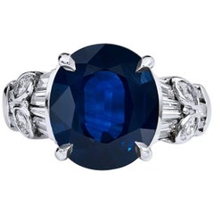 7.44 Carat Blue Sapphire Diamond white gold Ring