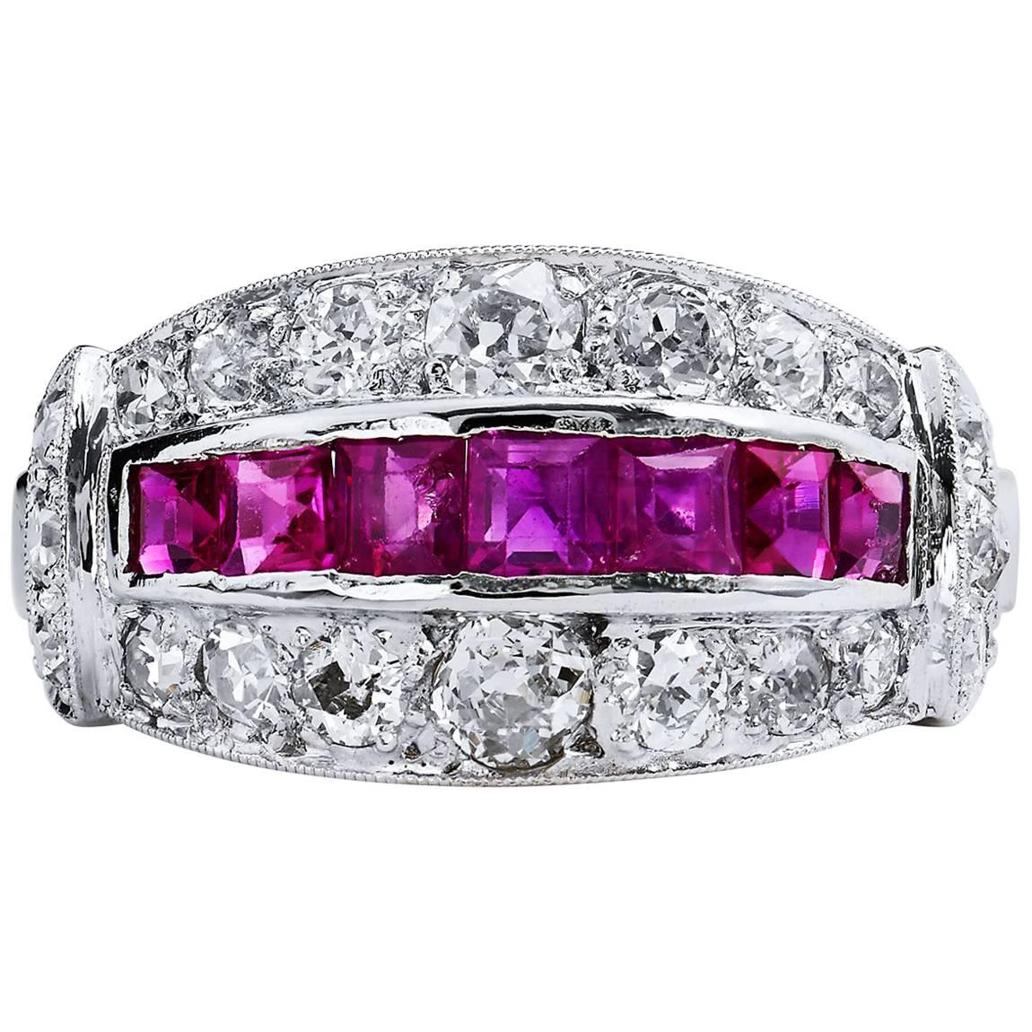 Estate Art Deco Old Mine & European Cut Ruby & Diamond Pave Set Platinum Ring 6