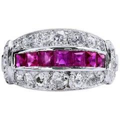 Ruby Diamond pave set Platinum Ring