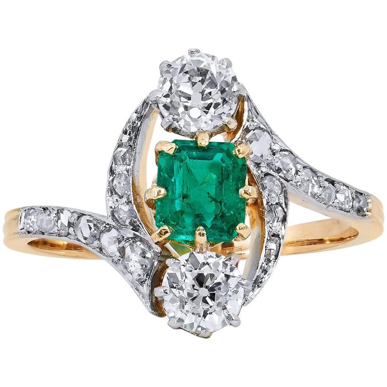 Art Deco Estate Emerald Diamond 3 Stone with Pave Gold Platinum Bypass Ring For Sale