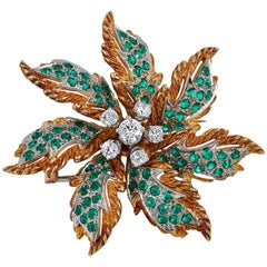 Emerald Diamond white and yellow gold Brooch