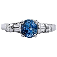 1.43 Carat Blue Ceylon Sapphire Diamond platinum Ring