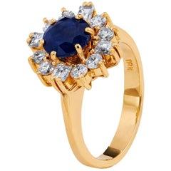 1.32 Carat Blue Sapphire Diamond yellow gold Ring
