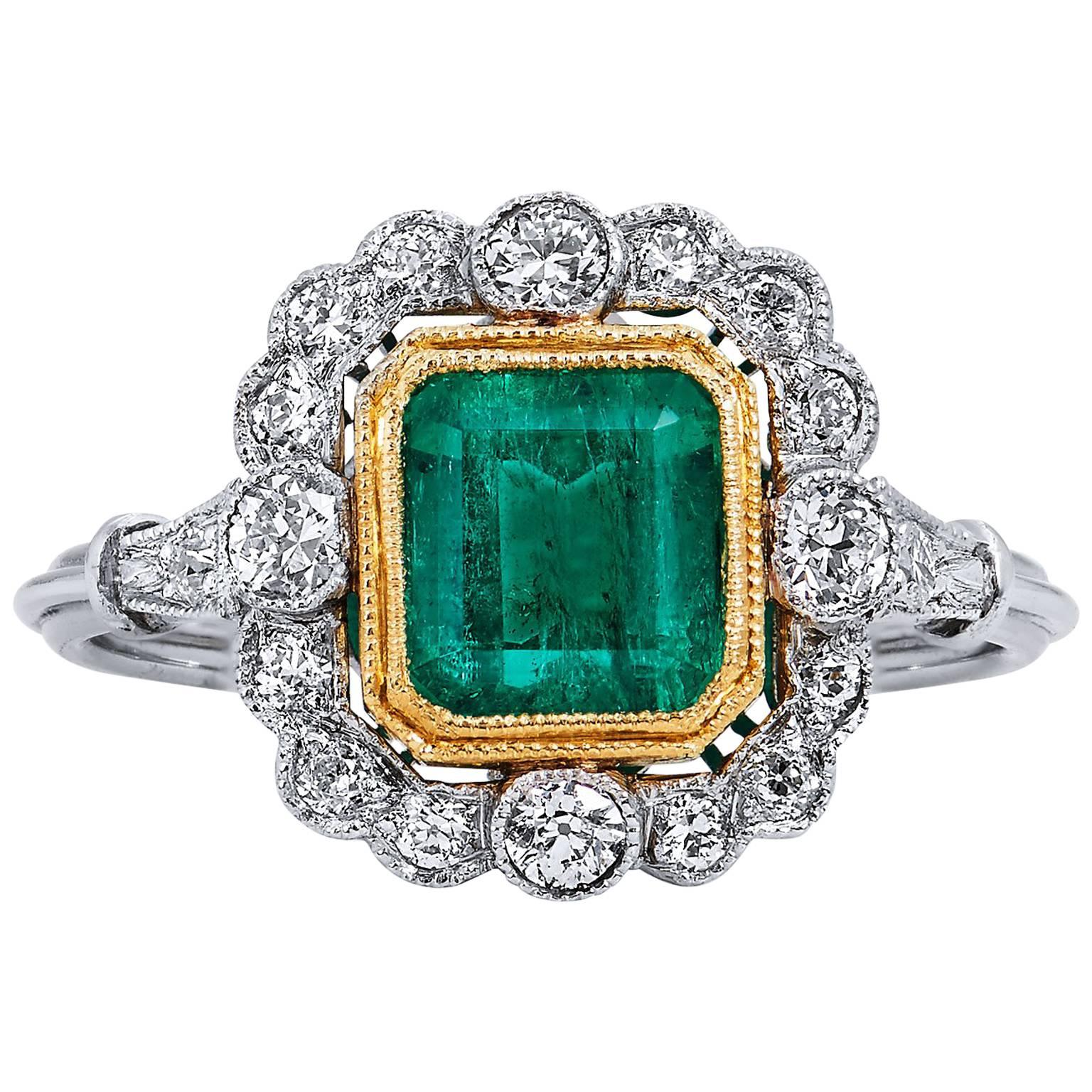 GIA CERTIFIED  1.60 Carat Colombian Emerald Diamond Yellow Gold Platinum Ring