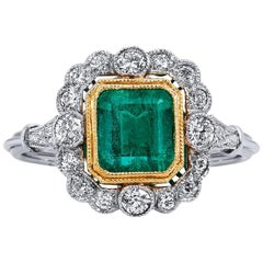 1.60 Carat Colombian Emerald Diamond yellow gold platinum Ring
