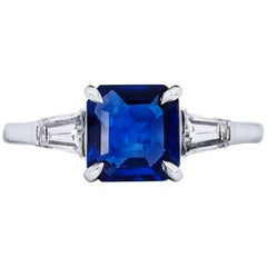 GIA Certified 2.00 Carat Square Cut Blue Sapphire & Diamond Platinum Size 6.5