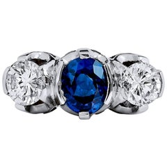 1.13 Carat Violet Blue Sapphire and Diamond Three Stone Ring