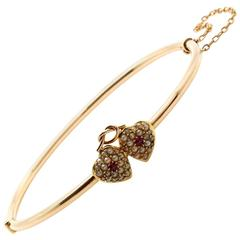 Gold Bangle Bracelet with Pave Pearl Hearts