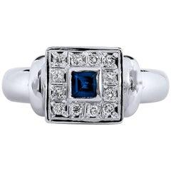 Princess Cut Blue Sapphire Diamond Pave white gold Ring