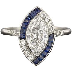 Sapphire Marquise Diamond Platinum Halo Engagement Ring