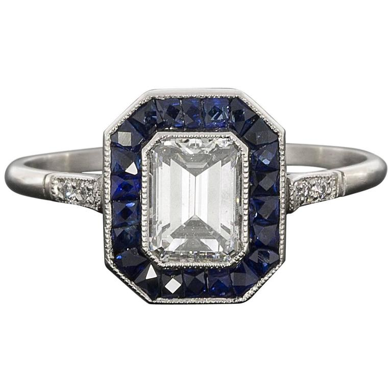 sapphire emerald cut platinum halo engagement ring