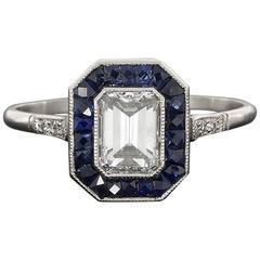Sapphire Emerald Cut Diamond Platinum Halo Engagement Ring