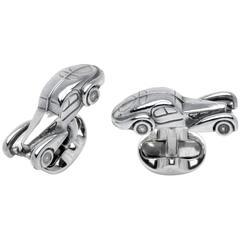 Deakin & Francis Bugatti type 57 Aluminum and Sterling Cufflinks