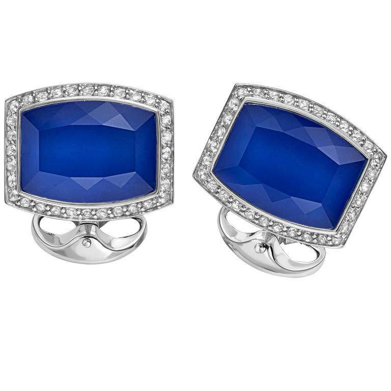 Deakin & Francis Barrel Shaped White Sapphire and Silver cufflinks