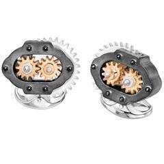 Deakin & Francis Silver & Rose Gold Gearbox Cufflinks