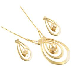 Lust 1.22 Carat Diamond Gold Duchess Pendant and Earring Set