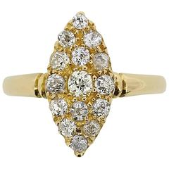 Late Victorian Marquise-Shaped Old Cut Diamond Cluster Ring, circa 1897