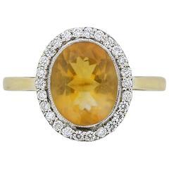 Vintage Orange Topaz and Diamond Halo Ring, circa 1970s