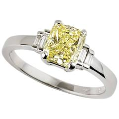 White Gold Fancy Yellow Diamond Ring 1.03 Carat