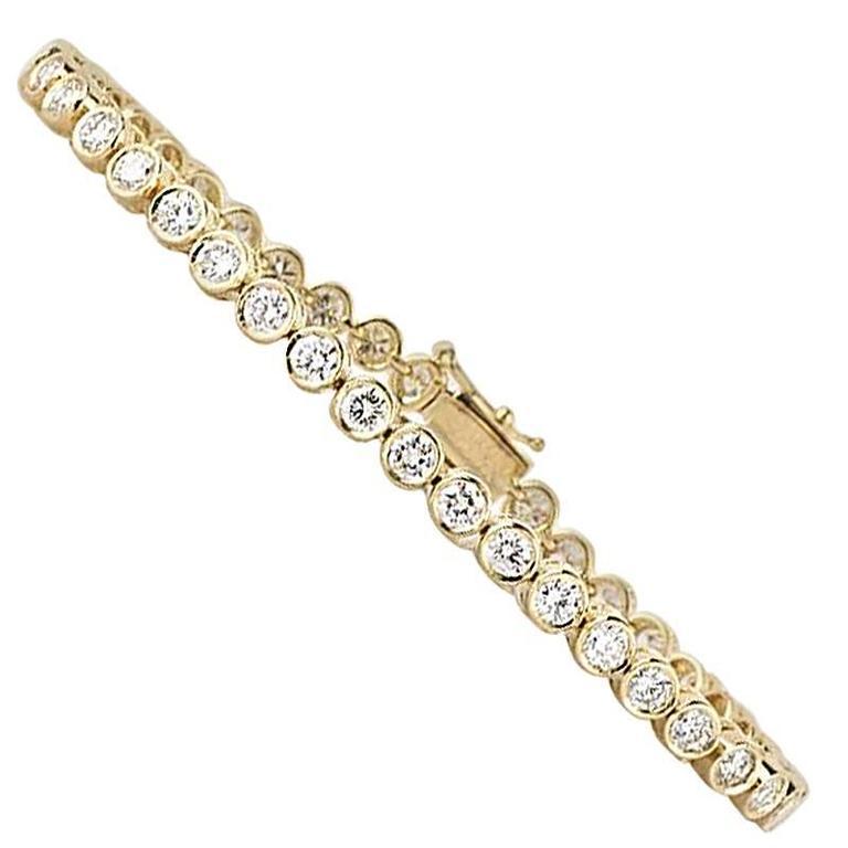 Yellow Gold Diamond Line Tennis Bracelet 4.49 Carat