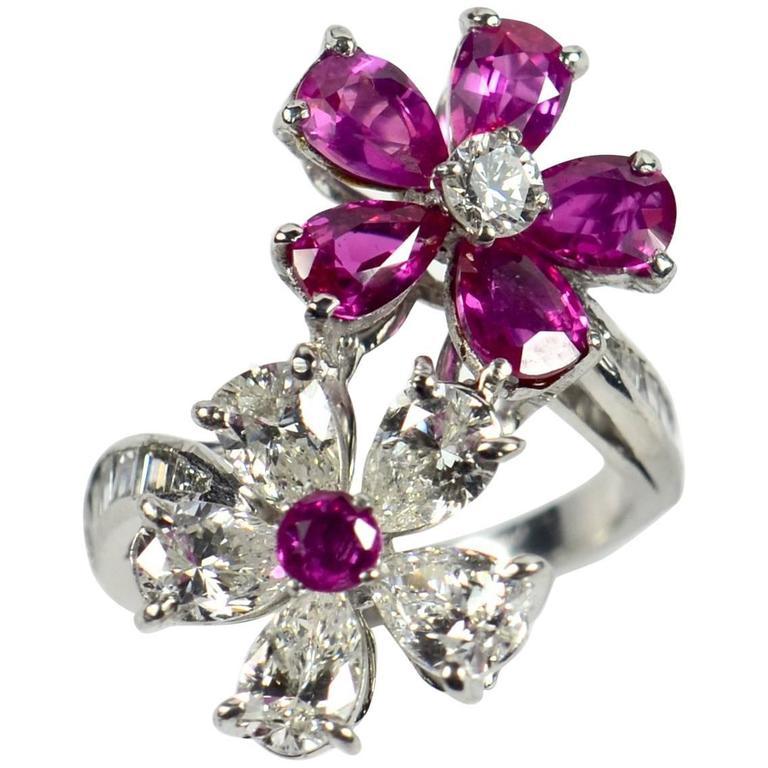 Unheated Burma Ruby Diamond Platinum Red White Flowers Crossover Ring