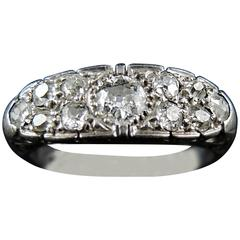 French Art Deco Diamond Platinum Band Ring, circa 1920
