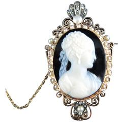 French Cameo Antique Brooch with Natural Pearls and Diamonds