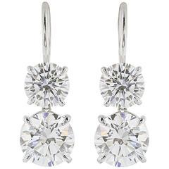 Double GIA Certified Diamond Platinum Drop Earrings