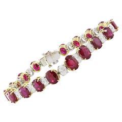 Burma Rubies Diamonds Yellow Gold Platinum Tennis Bracelet