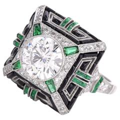 Geometric Diamond Emerald Onyx Platinum Cocktail Ring