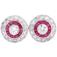 Diamond Ruby Platinum Stud Earrings