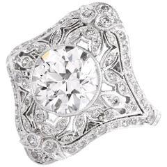 Antique 2.25 Carat Diamond Platinum Filigree Engagement Cocktail Ring