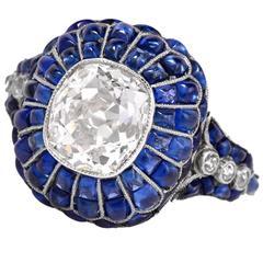 Cushion Cut Cabochon Sapphire Diamond Platinum Ring