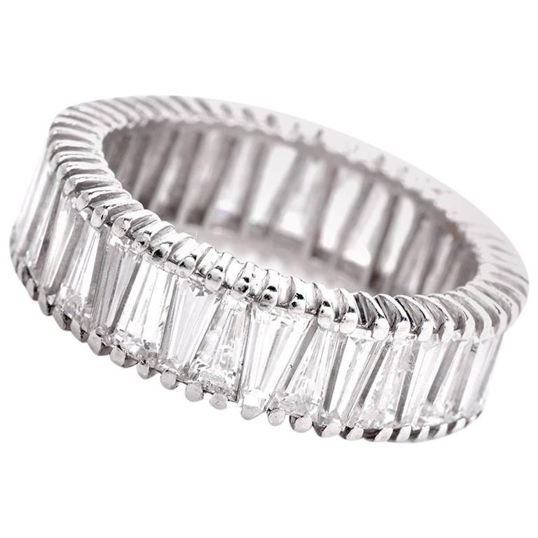 straight bands cut peter set jewelers with channel weddingbands diamonds norman product platinum baguette eternity band