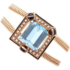 Retro Aquamarine Seed Pearl Yellow Gold Snake Bracelet