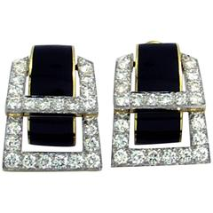 David Webb Enamel Diamond Gold Hinged Earrings