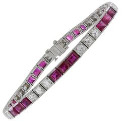 Burma Ruby Diamond Platinum Tennis Bracelet
