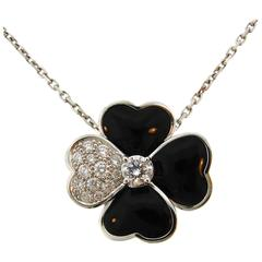 Van Cleef & Arpels Cosmos Onyx Diamond White Gold Pendant Clip Pin Brooch Medium
