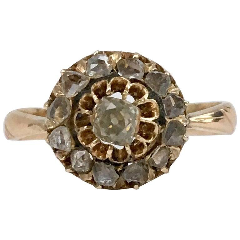 Cushion Cut Diamond Cluster Ring Rose Cut High Carat Gold Antique Russian
