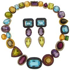 Multi-Colored Gemstones Yellow Gold Necklace and Earrings Set