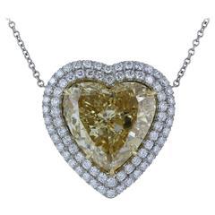 GIA Certified 10.02 Carat Yellow Heart Shape Diamond Pendant