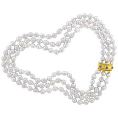 Elizabeth Locke Baroque Pearl and Gold Necklace