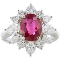 2.12 Carat Ruby Diamond Cluster Ring