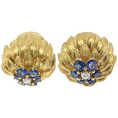 Sapphire Diamond yellow gold leaf cluster Earrings